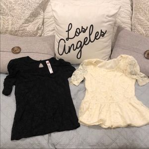 BUNDLE!  Black & Creme Lace Short Sleeve Tops L